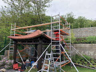 Production and setup of the japanese hinode garden pavilion