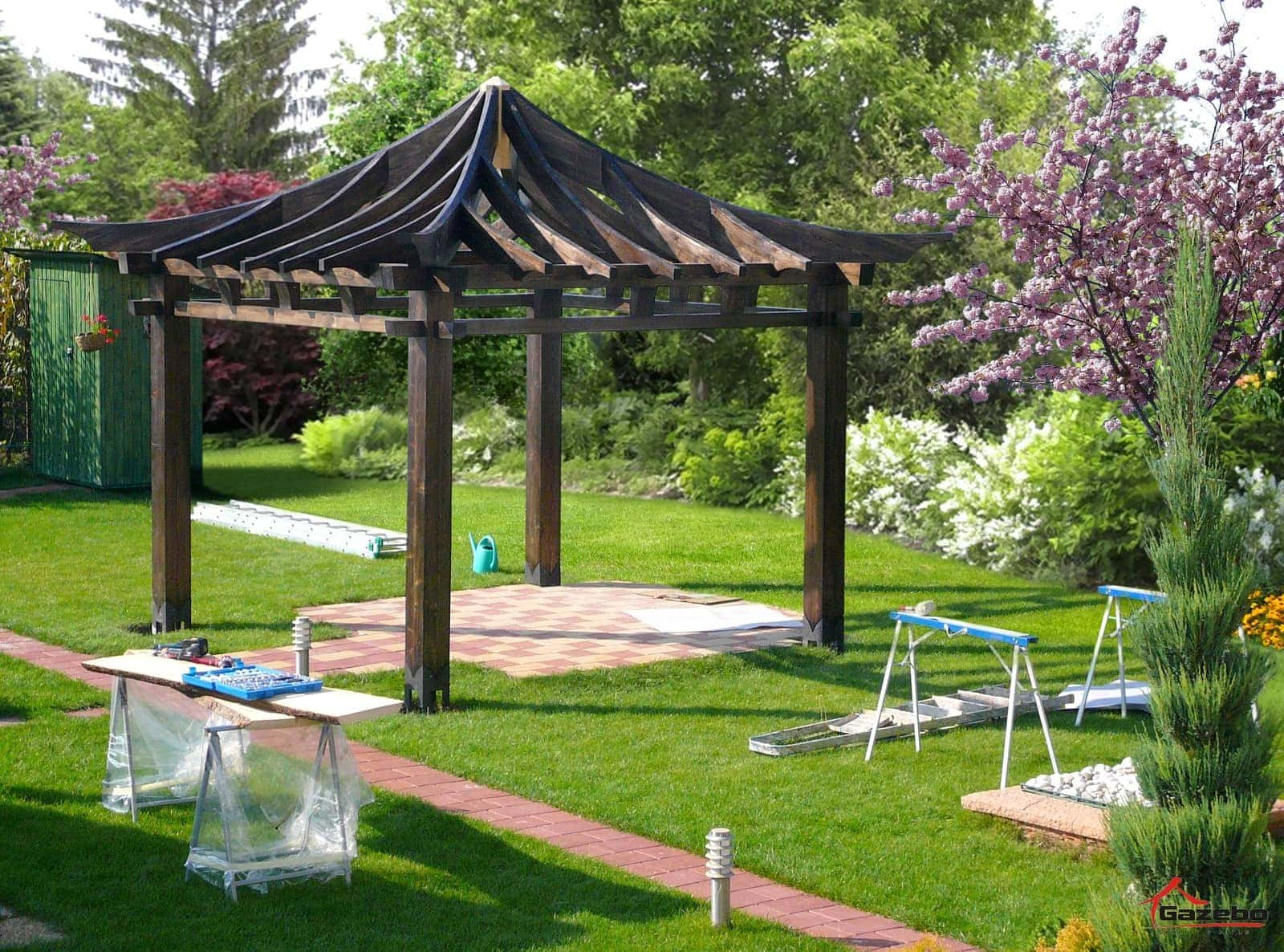 construction of japanese gazebo hinode gazebo pergola. Black Bedroom Furniture Sets. Home Design Ideas