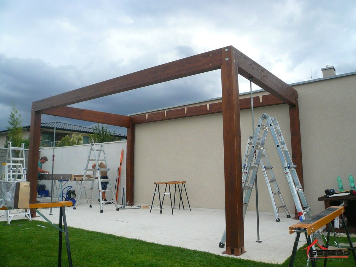 Wooden pergola milan assembly gazebo pergola for Parts of a pergola